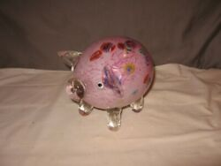 Adorable Large Murano Pink W/multi Glass Pig 5 1/2 Height Vgc