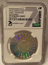 2014 Interconnections Beaver Silver Hologram Coin. Only 126 Graded Pf70