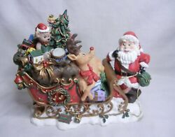 1999 Heritage Mint Santa Trying To Talk His Reindeer Into Pulling His Sleigh