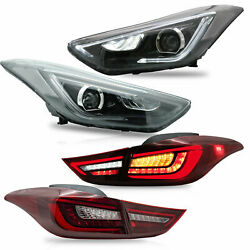 Free Shipping To Pr For Elantra 11-16 Sedan 13-14 Coupe Headlights+red Taillight