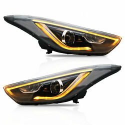 Free Shipping To Pr For Elantra 2013-2014 Coupe Led Headlights W/drl Dual Beam