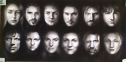 Game Of Thrones Characters Awesome Art Charcoal Drawing 20x40