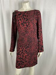 Authentic Versace Burgundy Animal Leopard Print Safety Pin Dress Size M Rrp Andpound415