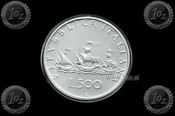 Italy 500 Lire 1991 Christopher Columbusand039s Ships Silver Coin Km 98 Unc