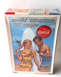 1960 Drink Coca Cola Sealed Deck, Zing Couple With Surfboard. Playing Cards