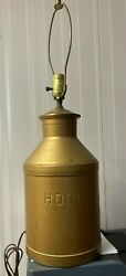 Vintage 8 Quart Steel Milk Can - Signed Hood - Adapted To A Lamp
