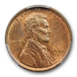 1909 S 1c Lincoln Wheat Cent Pcgs Ms 64 Rb Uncirculated Red Brown Cert9538
