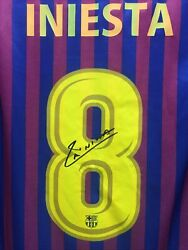 Fc Barcelona Home 18-19 Red Navy Signed Soccer Classic Jersey Size L Mens Only