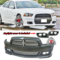 Srt-8 Hellcat Style Front Bumper W/ Grill W/ Fog Covers Fit 11-14 Dodge Charger