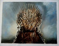 Game Of Thrones Iron Throne Art Oil On Canvas Painting Huge 30x40 Original