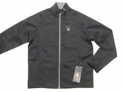 New With Tag Nwt Mens Spyder Black Constant Stryke Waffle Knit Fleece Jacket M