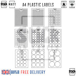 Round Waterproof Labels | A4 White Self Adhesive Polyester Plastic Circle Labels