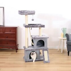 Scratching Post Cat Tree Cat Towers with 2 Condos Dangling Balls and Ramp 50 in