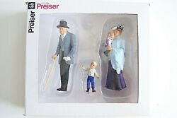 Preiser G Scale 45066 Old Time Elderly Man With Cane And Woman W Children Figures