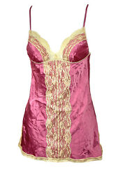 Vintage 90s Y2k Mini Dress Slip Camisole Silk Stretch Pink Lace Cami S Small