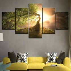 Weeping Willow Tree Woman Hd 5 Piece Canvas Wall Art Poster Print Home Decor