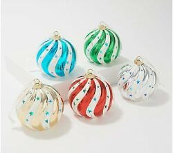 Lightscapes Lighted Candy Cane Striped Ceramic Ornaments Set of 5