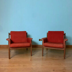 Pair Of Armchairs By Grete Jalk For France And Son 1960s Danish Mid Century Teak