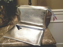 IPSY Ultimate Expanding Bag amp; Ipsy Plus Cosmetic Bag Set 2 Zippered Silver Bags $11.99