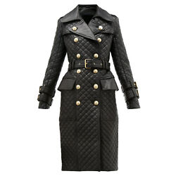 Women Leather Dress Double-breasted Quilted Leather Trench Coat Steampunk Dress