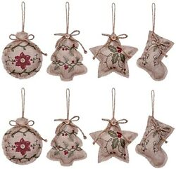 Rustic Christmas Tree Ornaments Stocking Decorations Burlap Country 8 In All