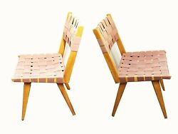 Mid Century Jens Risom Style Teak Chairs W. Early Replacement Strap Weaving Pair