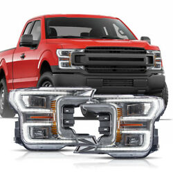 For 18-20 F150 Xl Chrome Led Reflector Switchback Drl Bar Sequential Headlights