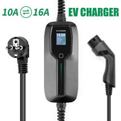 Ev Charger Type 2 Electric Vehicle Car Charging Cable Box Evse Lcd 10/16a Schuko