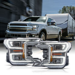 Customized Chrome Full Led Headlights Sequential For 18-20 Ford F-150 King Ranch