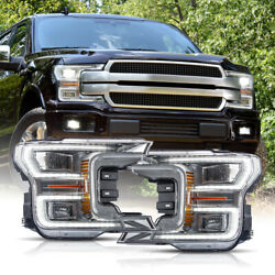 For 18-20 F150 Platinum Chrome Led Reflector Switchback Sequential Headlights