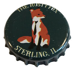 100 Green Beer Bottle Caps Rusty Fox Used, Crimped