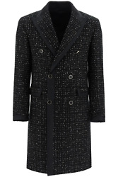 New Amiri Double-breasted Boucle Coat With Lame W0m04336bo Black Authentic Nwt