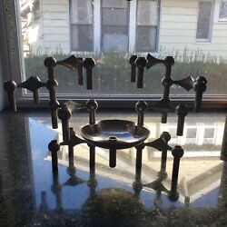 9 Nagel West Germany Mid-century Modern Stacking Candle Holders And Candle Dishes