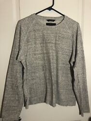 Wings + Horns Mens Long Sleeve Gray Sweater Large Heather Canadian-made Fleece L