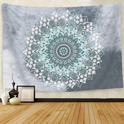 Bohemian Flower Psychedelic Indian Dorm Decor for Living Room 51x60 InchesGreen