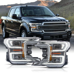 Born For 18-20 F150 Limited Chrome Led Reflector Switchback Sequential Headlight