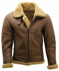 Menand039s Brown Bomber Real Sheep Shearling Fur Sheep Leather Flying Aviator Jacket
