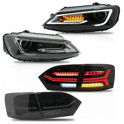 Free Shipping To Pr For 11-14 Jetta Led Headlights W/dual Beam+smoked Taillights