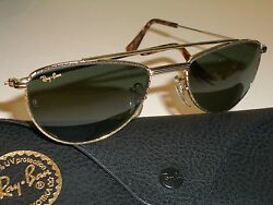 Vintage Bausch And Lomb W1758 Gold Plated Combo G15 Uv Aviator Sunglasses