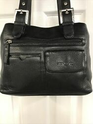 Stone amp; Co Black Leather Satchel Purse Handbag $21.99