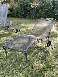 Vintage Woodard Wrought Iron Patio Furniture Set Of 3 Lounge Chairs