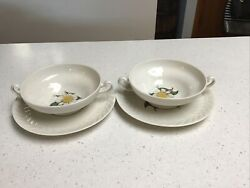 2 Theodore Haviland New York Regents Park Camellia Footed Soup Bowls With Saucer