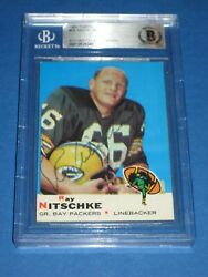 Ray Nitschke Packers Signed 1969 Topps Card 55 Beckett Authenticated
