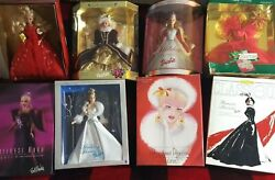 8 Barbie, Collectable Dolls Lot With Bonus Bob Mackie Christmas Gifts