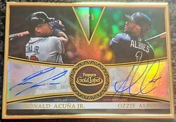 2019 Topps Gold Label Ronald Acuna Jr/albies Framed Black 4/5 Dual On Card Auto