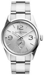 Bell And Ross Vintage Officer Silver Dial 41mm Menand039s Watch Brg123-wh-st/sst