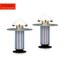 Wonderful 20thc Pair Of Italy Side Lamps Attributable To Ettore Sotsass