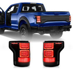 For 17-20 F-150 Raptor Tinted / Smoke Full Led Fiber Optic Tron Style Taillights