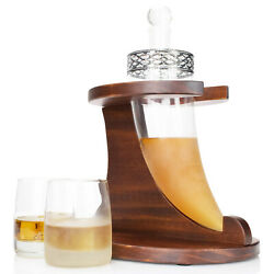 Atterstone Viking Horn Decanter Bar Set With Whiskey Stones And Drinking Glasses