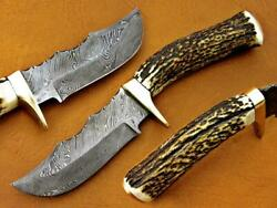 Amazing Homemade Damascus Hunting/bowie/kukri Knife With Deer Antler Handle